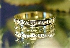 WR138 Sparkling Swarovski Crystal Paved Gold Eternity Ring