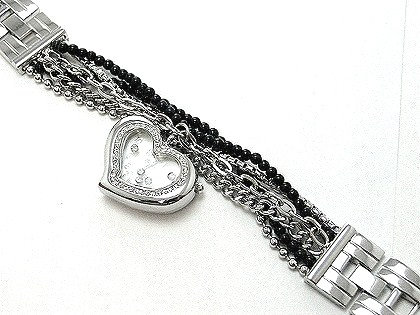 WW121 Multi Chains Beads Strands Floating CZs Heart Face Watch