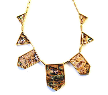 NP2013 Pearlescent Abalone Shell Geometric Statement Necklace