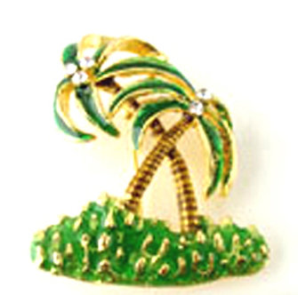 BP52 Palm Tree Crystal Enamel Palmtree Brooch