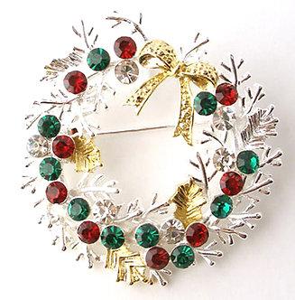 BP50 Crystal Paved Christmas Wreath Xmas Brooch