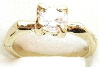 GSR11 Sparkling Clear CZ 18K Gold Solitaire Ring