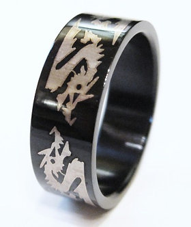 SSR519 High Gloss Black Stainless Steel Dragon Ring