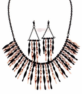 NP1035 Copper Black Twisted Metal Bars Chunky Necklace Earrings Set
