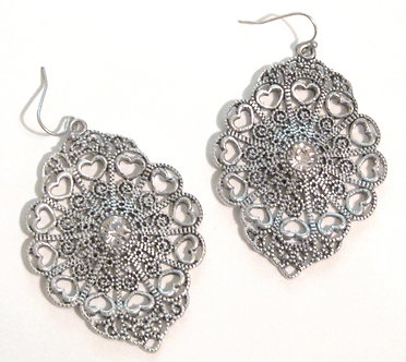 EA43 Antique Silver Victorian Style Filigree CZ Dangle Earrings