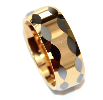 TU3094 Two Tone Gold  Multi Faceted Tungsten Carbide Ring