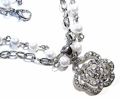 NP59 Crystal Pave Rose Flower  Silver Chain Glass Pearl Necklace