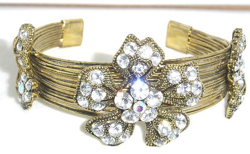 BR31 Sparkling Crystal Flowers Antique Gold Wire Cuff Bracelet