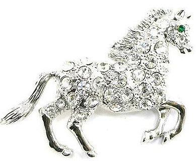 BP77 Large Crystal Paved Rhodium Finish Horse Brooch