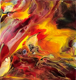 On Fire - Abstract Fluid Acryic Art - Mixed Media