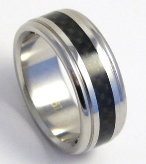 SSR03 - 8mm Men Black Carbon Fiber Stainless Steel Ring