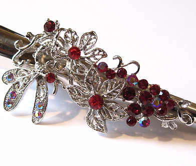 """MSC09 - 5"""" Red Crystal Flower Butterfly Hair Pin"""