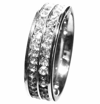 SSR1576 Double Row Sparkling Clear CZ Eternity Stainless Steel Ring