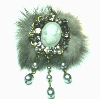 BP63 Unique Grey Fur Crystal Dangling Pearls Cameo Brooch