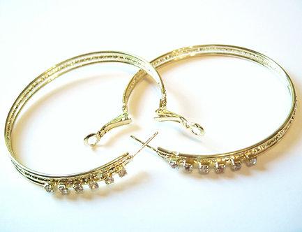 EA91 Sparkling Clear CZ 14K Gold EP Hoop Earrings