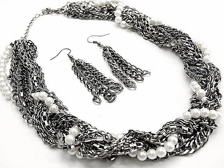 NP920 Chunky Multistrand Chains Pearls CZ Necklace Earrings Set