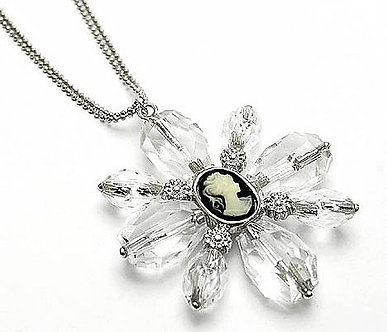 NP58 Cameo Lucite Ice Bead CZ Pendant Necklace