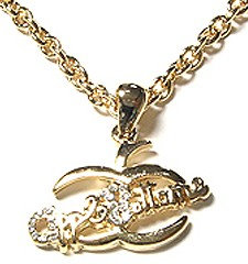 NP106 Crystal Apple Bottoms 14K Gold EP Pendant Necklace
