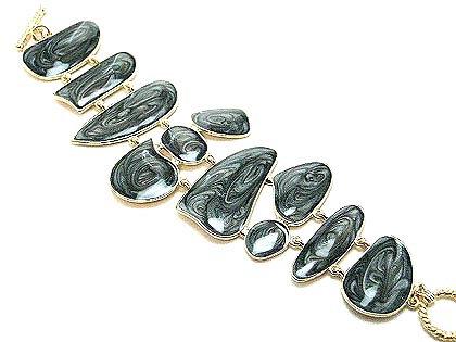 BR28 Black Marble Epoxy Finish Toggle Bracelet