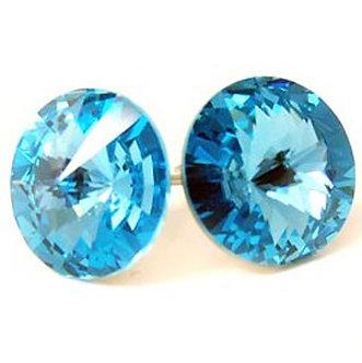 EA322 Aqua Sparkling Swarovski Crystal Stud Post Earrings