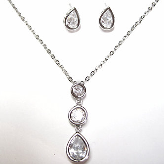 NP130 Sparkling Crystal Teardrop Rhodium Pendant and Earrings Set