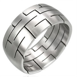 SSR1955 - 10mm Etched Stainless Steel Ring