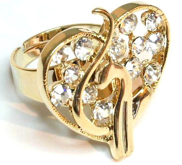 OS22 Sparkling Clear Crystal Gold Babyphat Ring