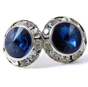 EA307 Blue Montana Swarovski Crystal Channel Set Post Earrings