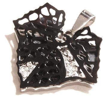 SSP7824 Black Stainless Steel Filigree Leaf Ball Chain Pendant