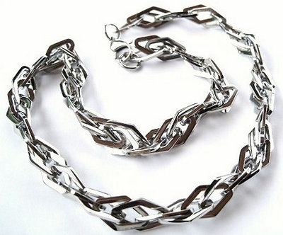 SSN0375 Rhombus Shape Chunky Stainless Steel Link Chain Necklace