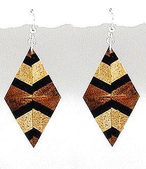 EA77 Unique Exotic Wood Dangle Earrings