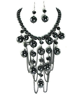 NP04 Glossy Black Beads Chains Cascade Drop Chunky Necklace Set