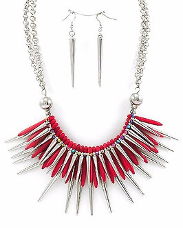 NP1114 Trendy Spike Chains Red Acrylic Chunky Necklace Set