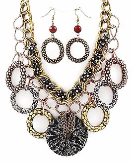 NP1108 Gold Copper Snake Print CZ Textured Hoops Chunky Necklace Set