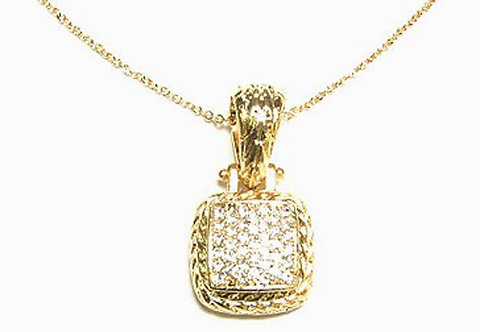 NP35 Trendy Gold Twisted Rope Square Crystal Pendant