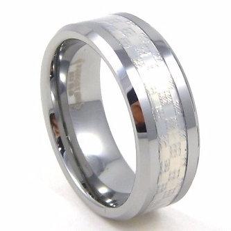 TU5078  Silver Carbon Fiber Tungsten Carbide Ring