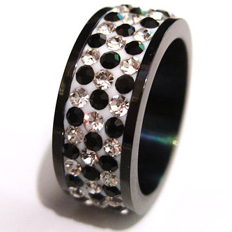 SSR4617 Black Clear CZ Stainless Steel Eternity Ring