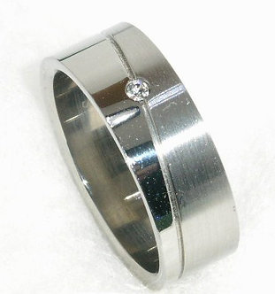 SSR28 - 8mm Clear CZ Stainless Steel Ring