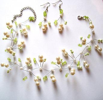 NP136 Ivory Glass Pearls Beads Illusion Choker Earrings Set