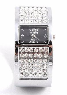 WW122 CZ Silver Chunky Cuff Fashion Watch