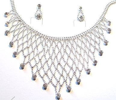 NP03 Crystal Ball Chain Link Bib Necklace Earrings Set