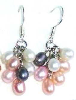 EA59 Dainty Multicolor Pearl Cluster Dangle Drop Earrings