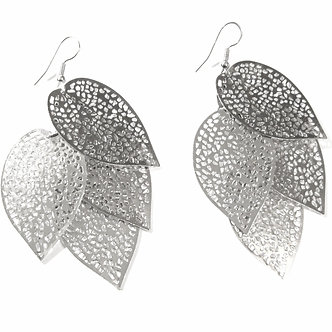 EA31 Large 3 inch Filigree Leaf Cascade Dangle Earrings