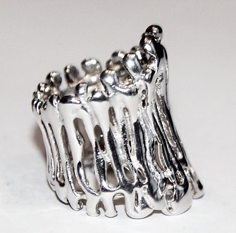 WR114 Abstract Sterling Silver Chunky Ring