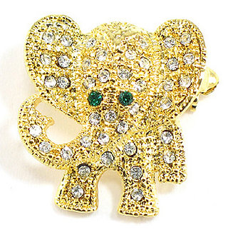 BP41 Adorable Crystal Paved Gold Elephant Brooch