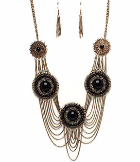 NP1043 Antique Gold Discs Chains Black Stone Chunky Necklace Set