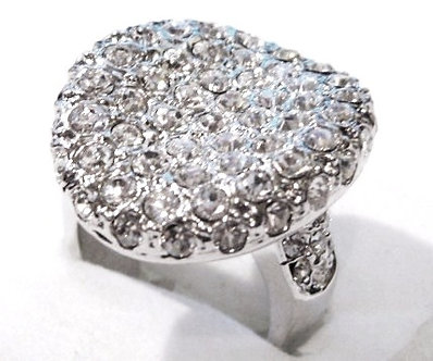 WR139 Sterling Silver Rhodium Crystal Paved Chunky Ring