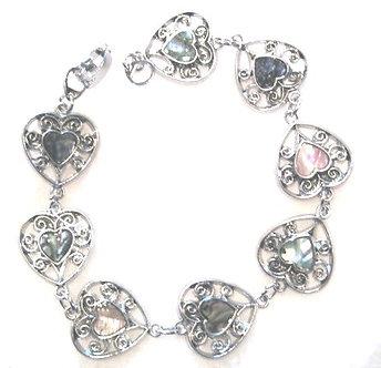 BR65 Colorful Abalone Shell Filigree Heart Shape Link Bracelet