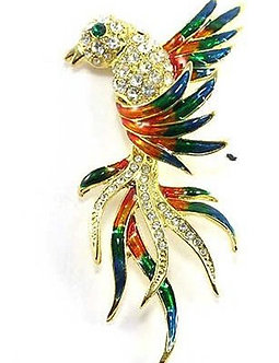 BP72 Colorful Enamel Crystal Exotic Bird Brooch