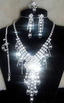 NP07 103  Four Piece Sparkling Crystal Cascade Necklace Set